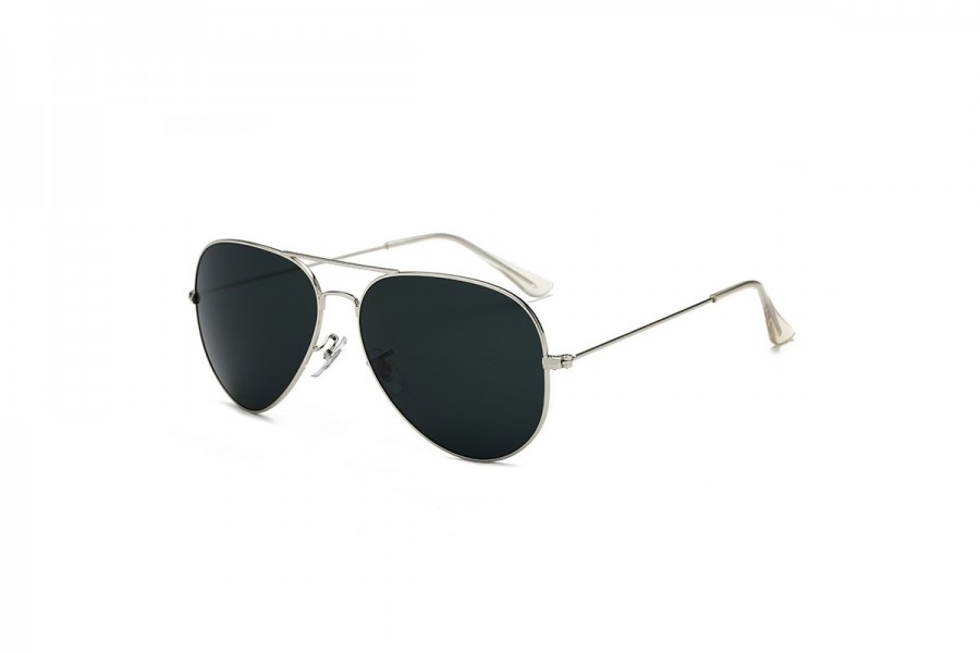 Hudson - Silver Black Aviator Sunglasses