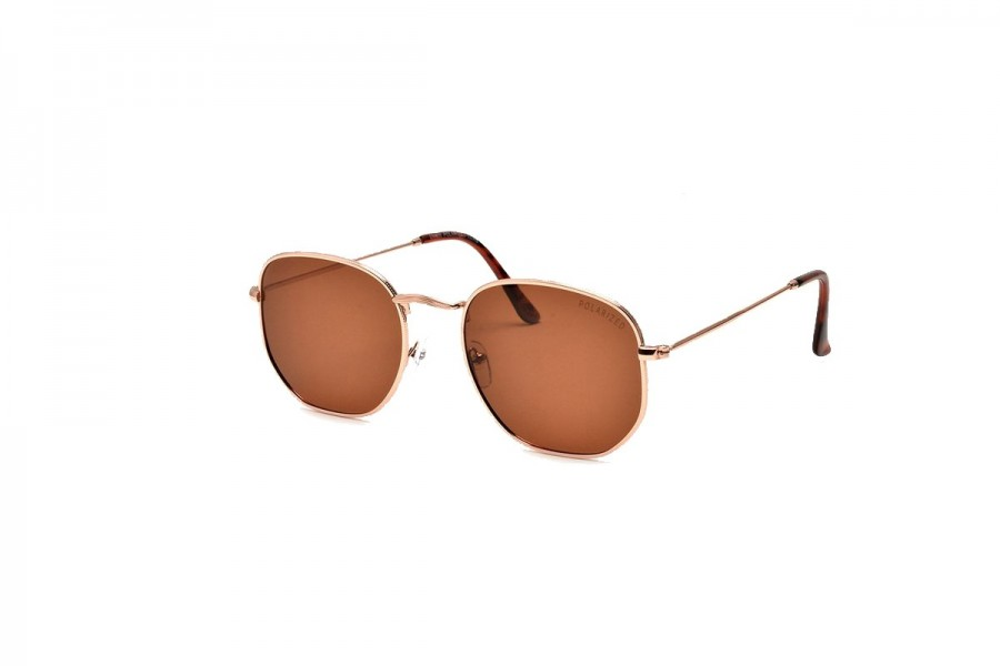 Drew - Gold Dawn Round Polarised Sunglasses