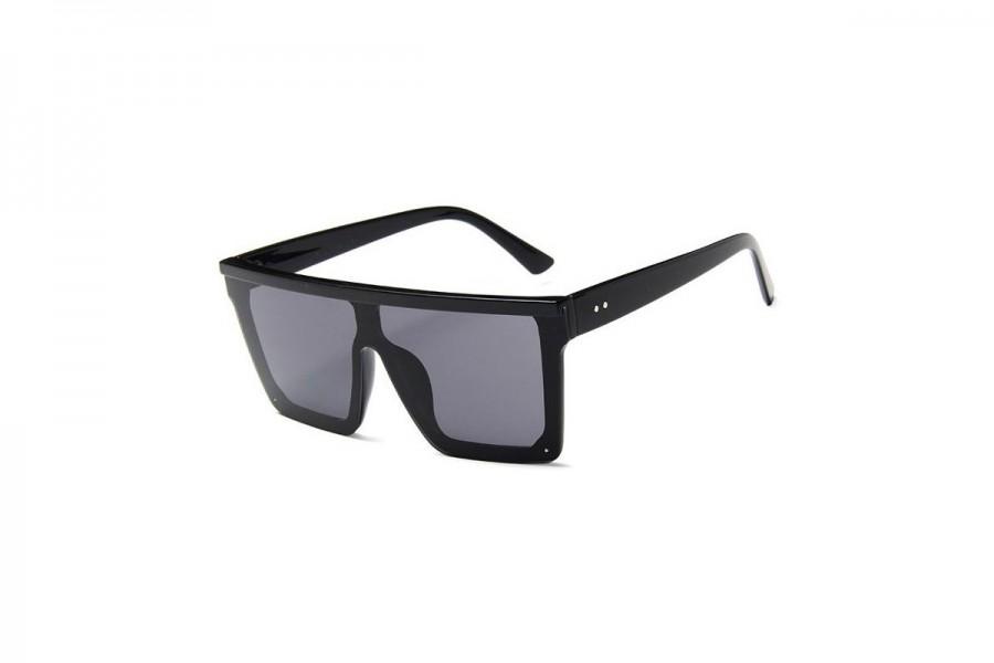 Jagger - Black Oversized Flat Top Sunglasses