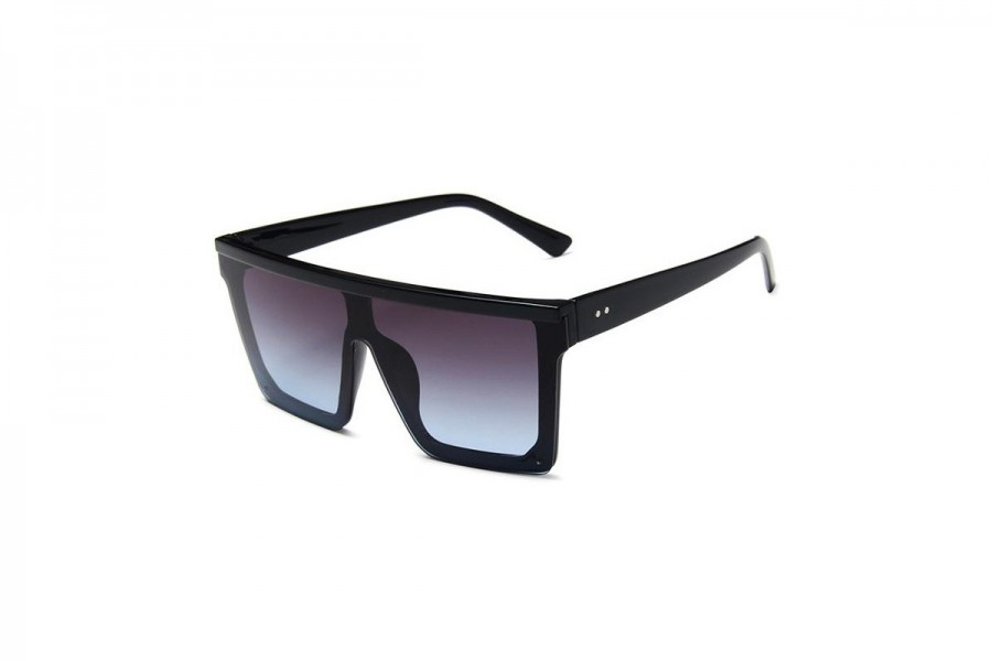 Jagger - Black Haze Oversized Flat Top Sunglasses