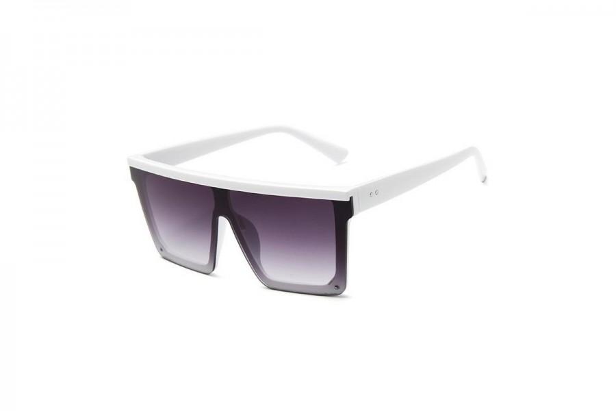 Jagger - White Oversized Flat Top Sunglasses