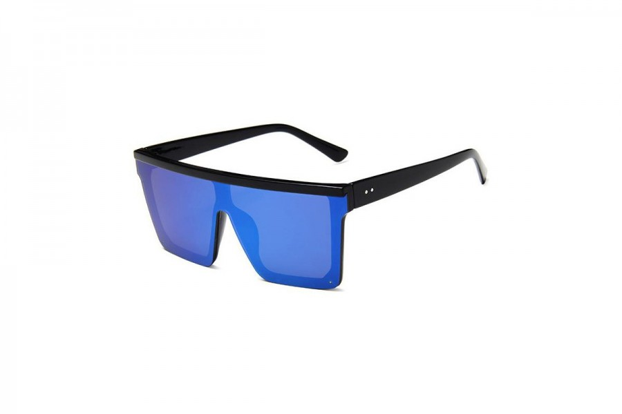 Jagger - Black Blue RV Oversized Flat Top Sunglasses
