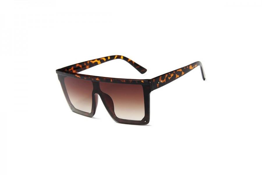 Jagger - Tort Oversized Flat Top Sunglasses