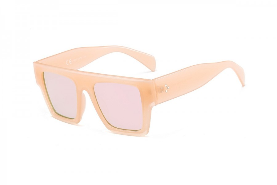 Alan -Pink Chunky Oversized Flat Top Sunglasses